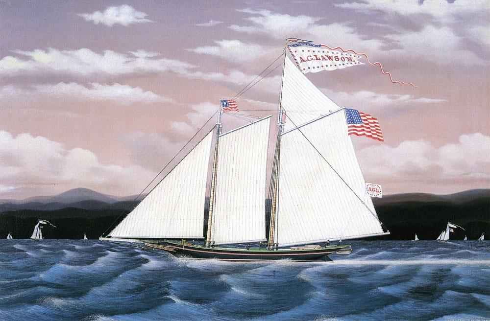 american 19th century painting james bard marine sailing ship