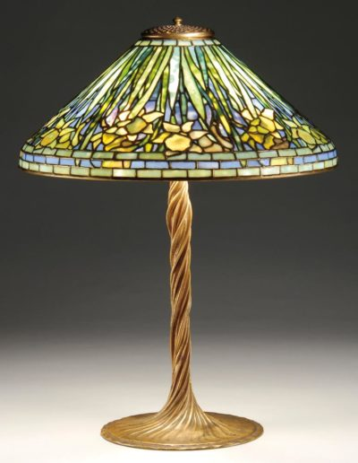 authentic tiffany studios daffodil lamp twisted vine base