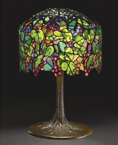 authentic tiffany lamp grape tree trunk base
