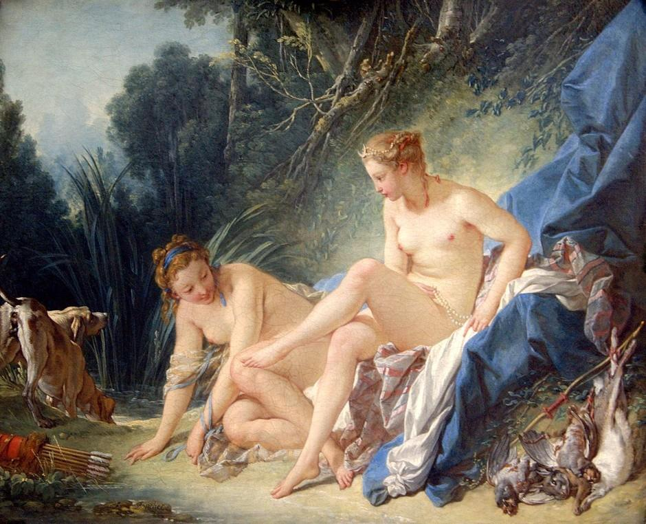 18th Century European - Francois Boucher - Diana after the Bath - 1742