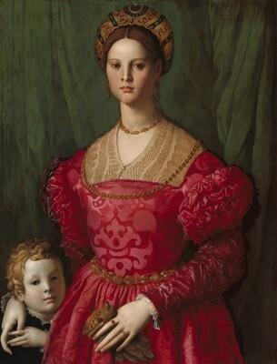 Old Master Painting - Agnolo Bronzino - A Woman with Her Little Boy 1540 - Italian