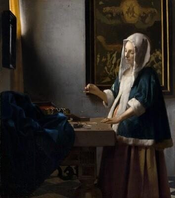 Old Master Painting - Johannes Vermeer -Woman Holding a Scale - 1664 - Dutch